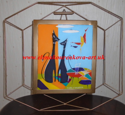 midcentury moderns whimsical cat painting