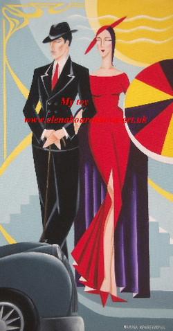 artdeco style couple painting