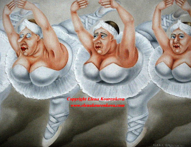 Quirky ballet dancers art painting