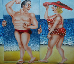 quirky humorous seaside painting