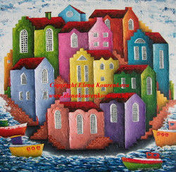 Quirky abstract seascape cityscape