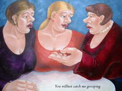 3 women talking original painting