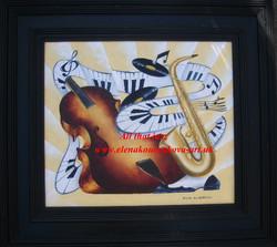 abstract music art-saxophone,piano