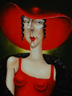 quirky figurative painting of women