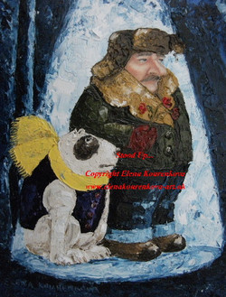 man with a dog painting