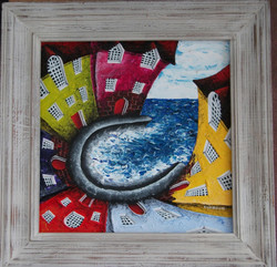 Whimsical architectural seascape art