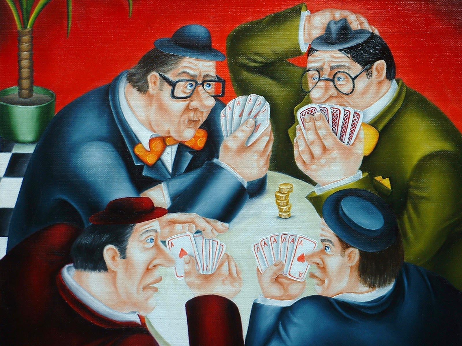 men at cards humorous original paint