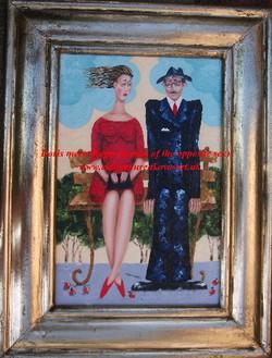 framed romantic couple artwork