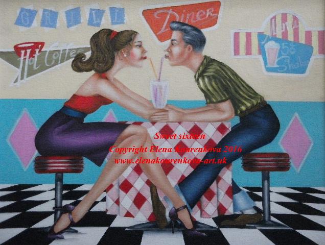 vintage 1950s diner artwork