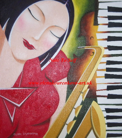 woman with saxophone piano painting