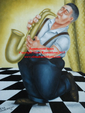 saxophone player humorous painting