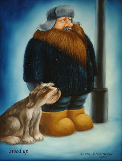 humorous painting man with dog