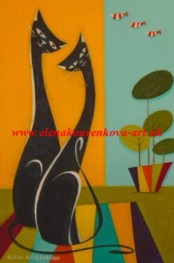 whimsical midcentury long necked cats painting