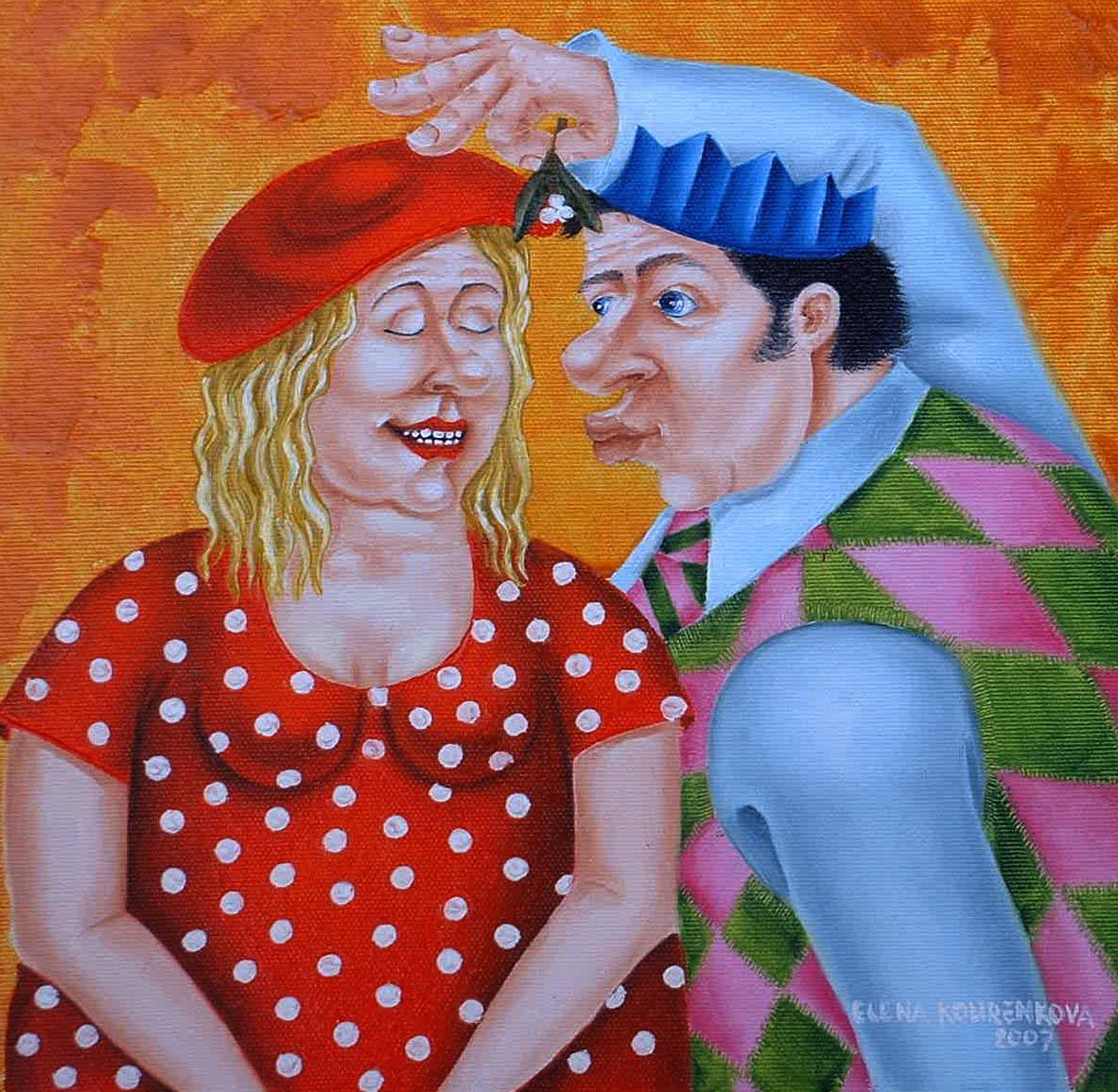 xmas romantic kiss under mistleto
