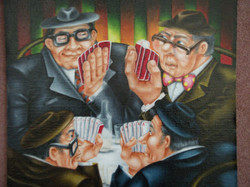 painting of card players/poker