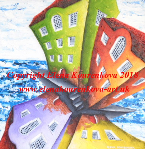 quirky abstract seaside painting of