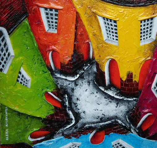 quirky buildings art giclee print