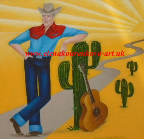 cowboy/cactus painting