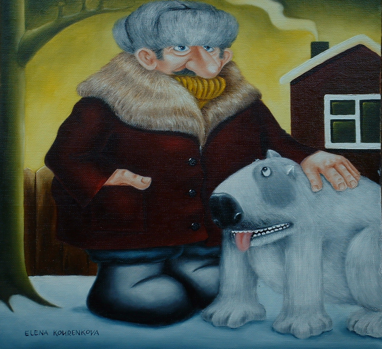 quirky art painting man with dog