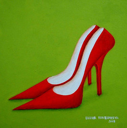 quirky painting of stiletto shoes