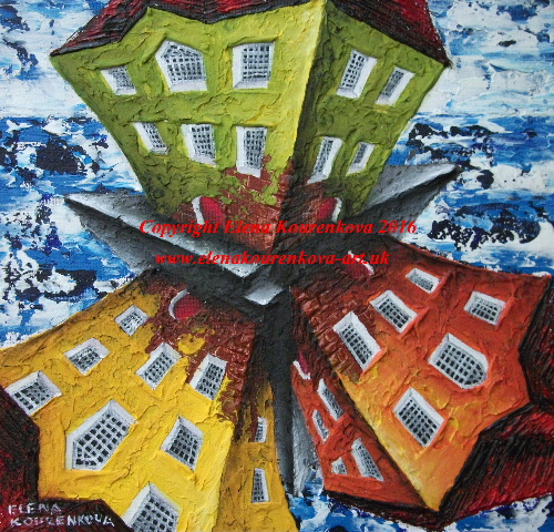 quirky twisted buidings painting