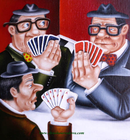 men at cards original humorous art