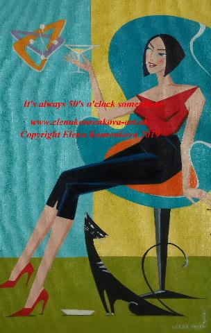 midcentury 1950s atomic age painting