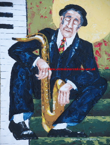 man with saxophone art painting
