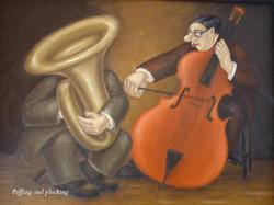 humorous music original oil painting
