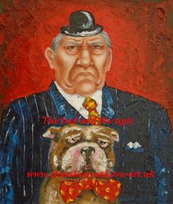 humorous artwork-man with dog