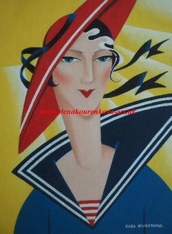 art deco seaside lady in a hat