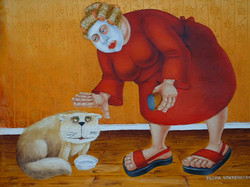 whimsical woman with cat painting