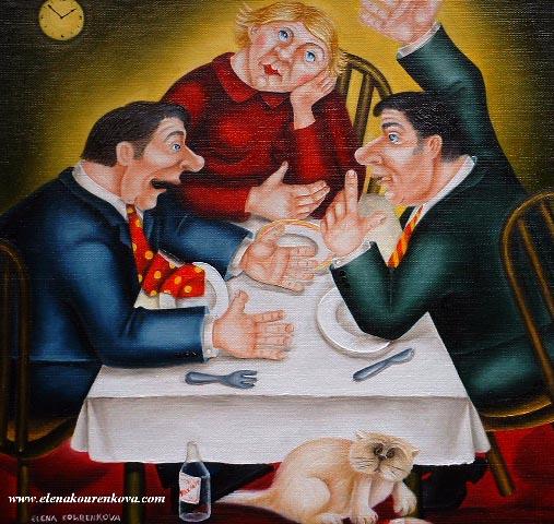men talking quirky original painting