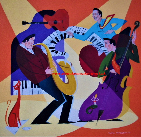 abstract midcentury music painting