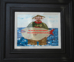 framed painting-man with fish