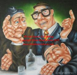 men drinking humorous art painting