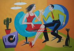 vintage 1950s artist painting