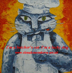 whimsical cat oil painting-gift idea