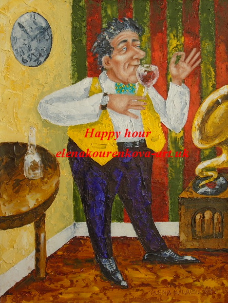 Man drinking wine quirky painting