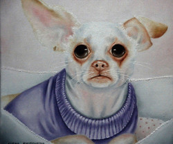 quirky painting of pet dog