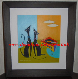 midcentury whimsical cats painting