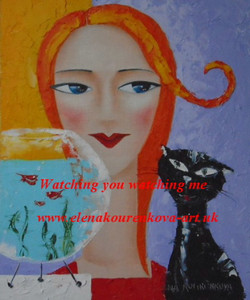 midcentury illustration woman with cat painting
