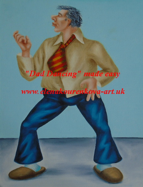 man playing air guitar painting