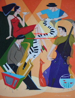 abstract midcentury illstration music painting