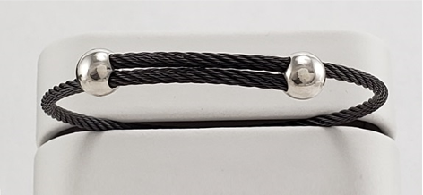 Titanium Memory Shape Cable Bracelet with Silver Beads