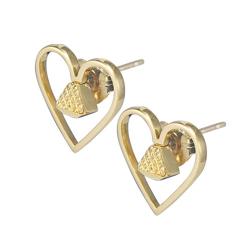 "Equine14K .5"" Post Earrings - Gold"