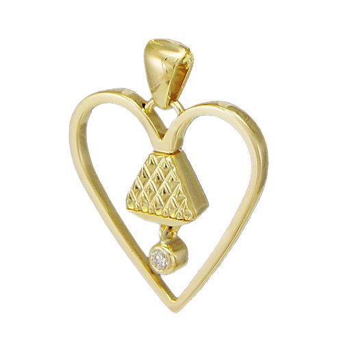 "Equine14K .75"" Diamond Pendant - Gold"