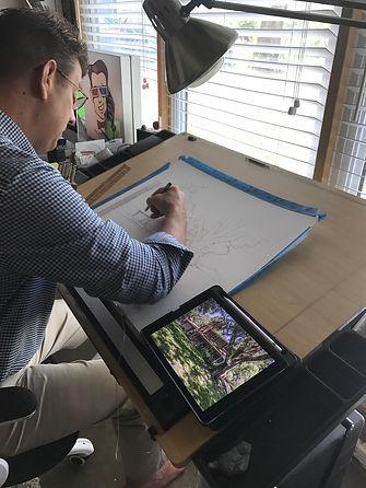 Bill FitzGibbon doing a custom pen and ink illustration