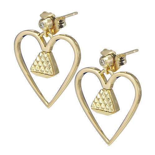 """Equine14K .75"""" Earrings -Gold with Diamonds"""