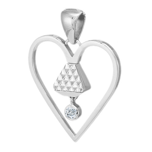 "Equine 1"" Cubic Zirconia Pendant - Silver"